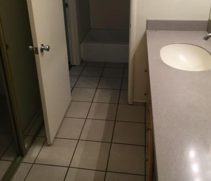 Clean bathroom with clean floors and counter