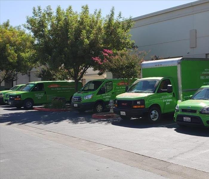 Some of SERVPRO vehicle