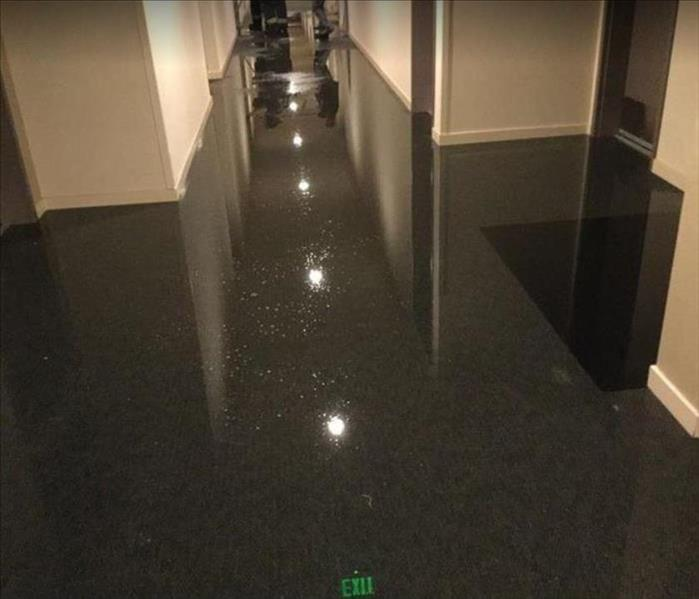 Standing water on floor of office building